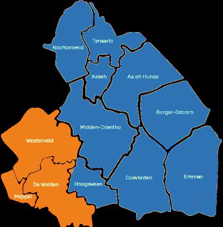 Werkgebied gebiedscoöperatie Zuidwest Drenthe Kaart